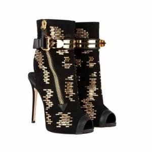 Sandales d'été à bout ouvert pour femmes, chaussures à talons de gladiateur dorés avec fermeture éclair scintillante