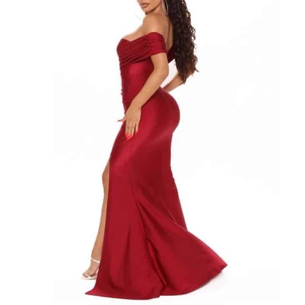 Robe de soirée longue, rouge foncé, extensible, sans manches, plissée, épaules dénudées, fente latérale 4