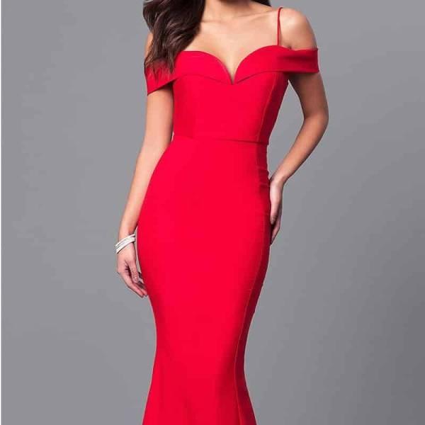 Robe longue sirène, col bateau, épaules dénudées, moulante, rouge, robe de soirée 5