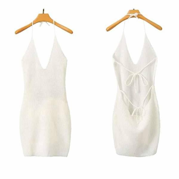 Mini robe à dos nu Sexy pour femme 5