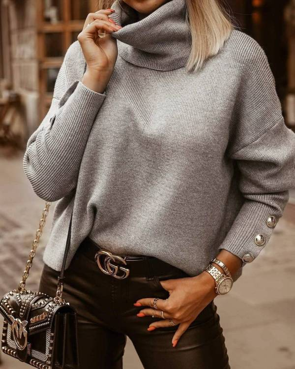 Pull tricoté Vintage à col roulé pour femmes 5