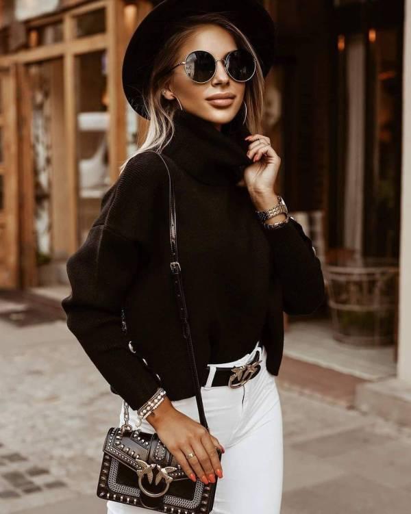 Pull tricoté Vintage à col roulé pour femmes 6