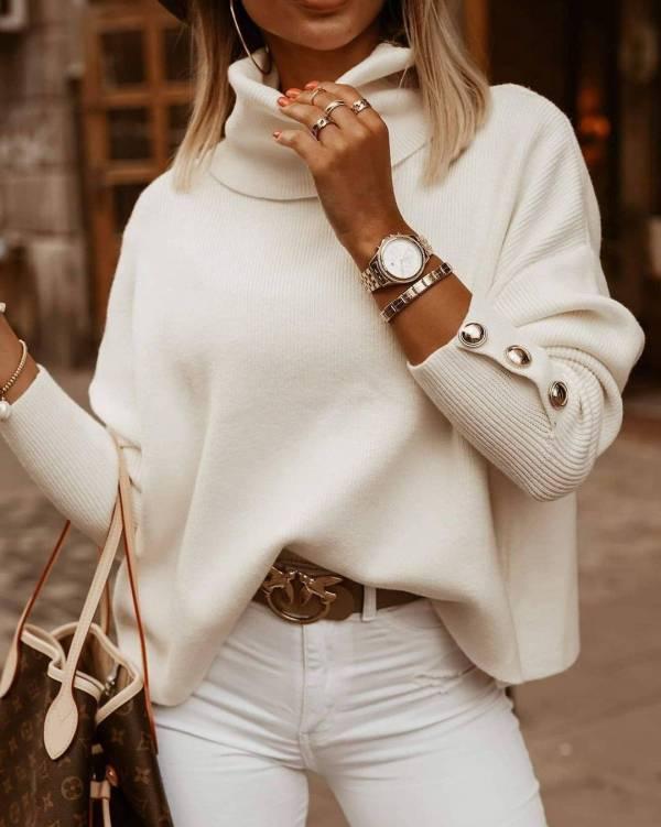 Pull tricoté Vintage à col roulé pour femmes 7