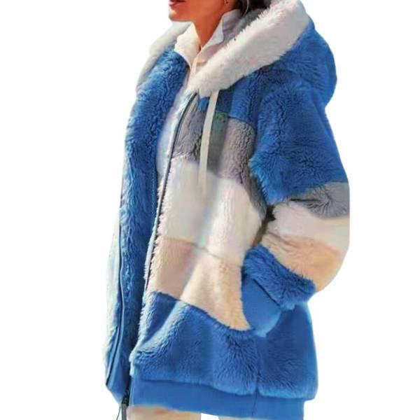 Veste peluche capuche chaude à manches longues 7