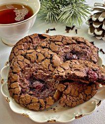 Chocolate Crispy Cookies baked in oven