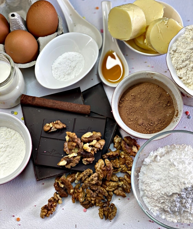 ingredients for chocolate brownie with walnuts