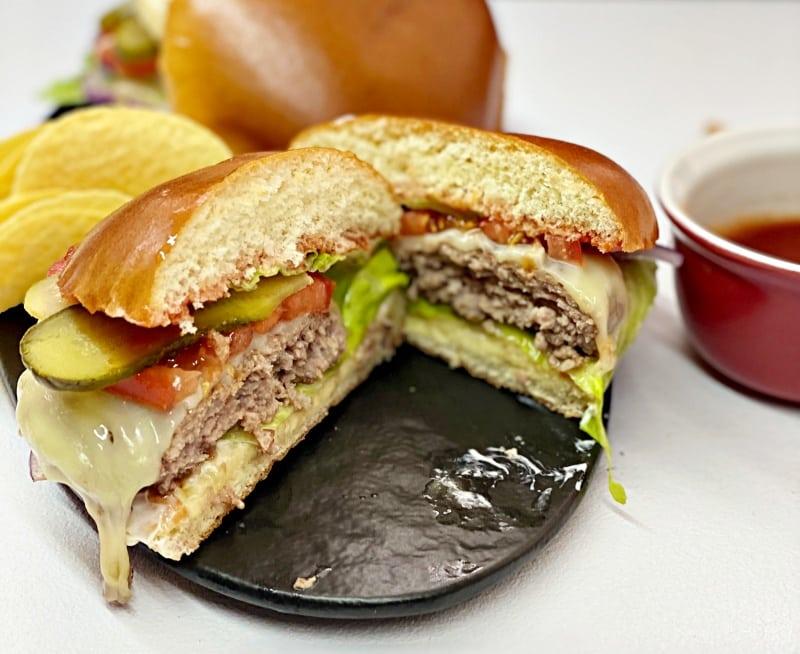 Homemade tasty hamburger with caramelized onion