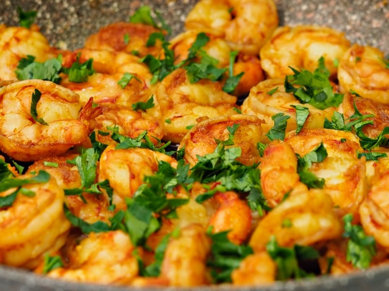 fried shrimp in garlic butter and herbs