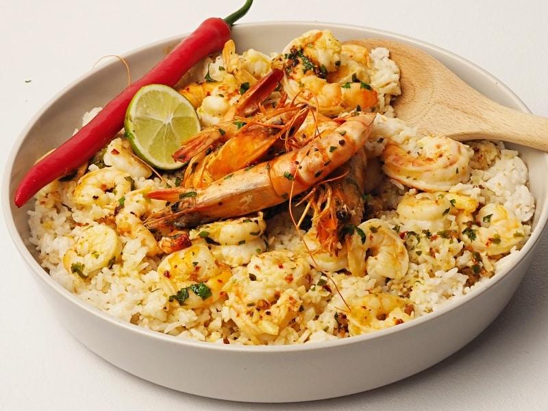 coconut rice garlic shrimps