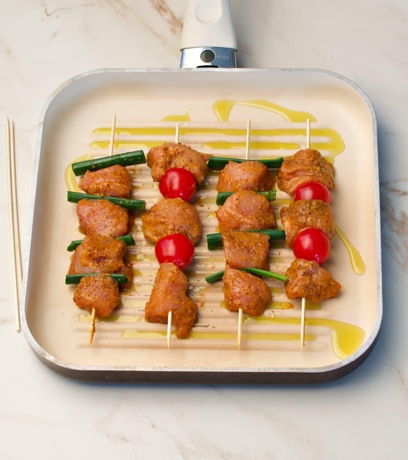 turkey kabobs on grill pan