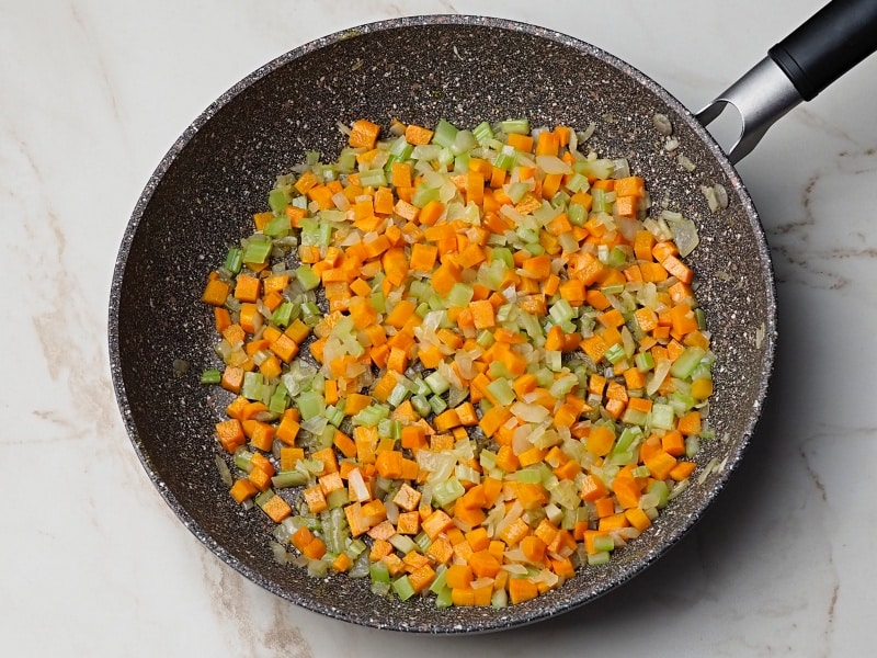 sauteed veggies for shepherds pie