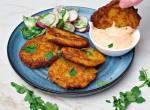 vegan potato fritters with lentils and sriracha mayonnaise
