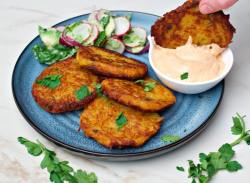 vegan potato fritters with lentils and sriracha mayonnaise