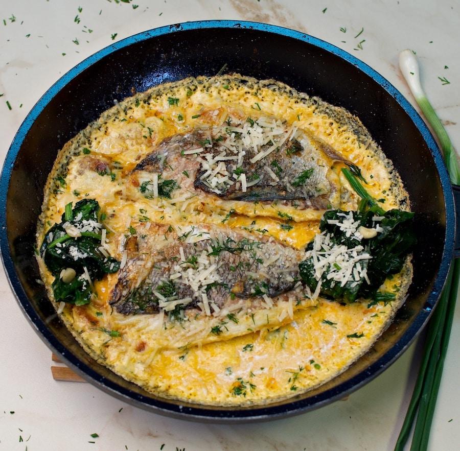 creamy sea bream with spinach recipe