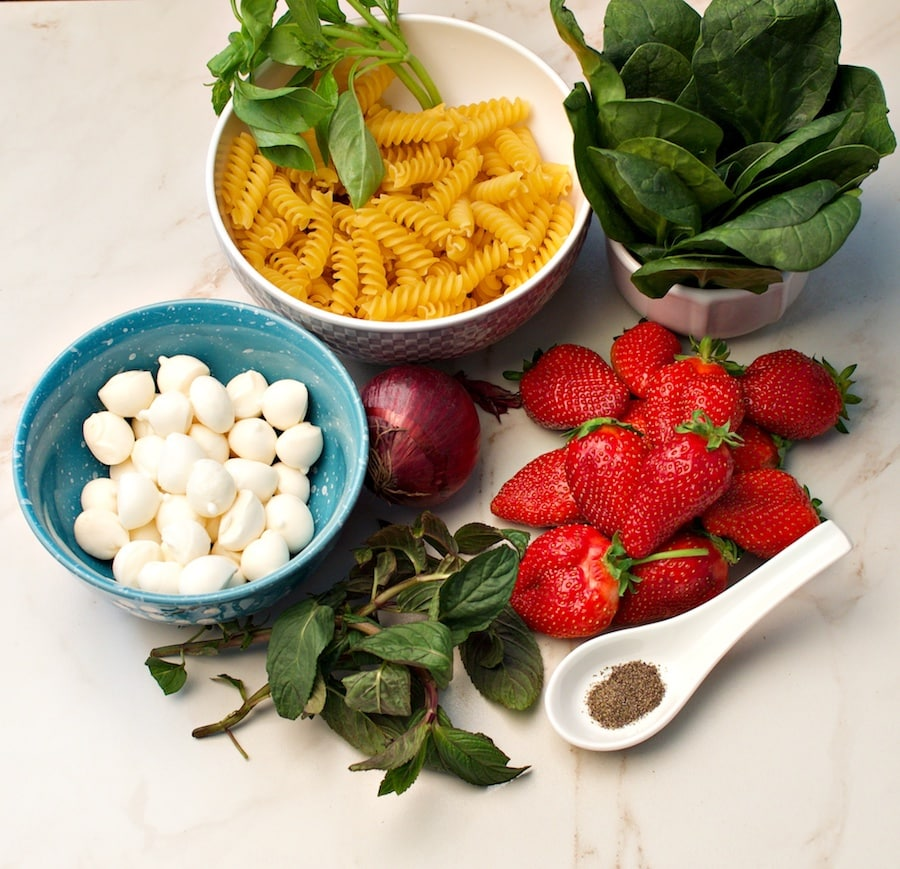 ingredients for strawberry pasta salad