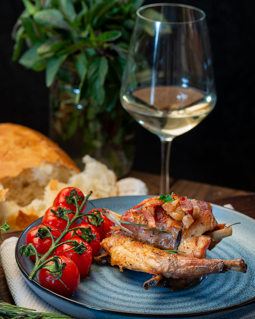 best roasted rabbit and glass dry white wine