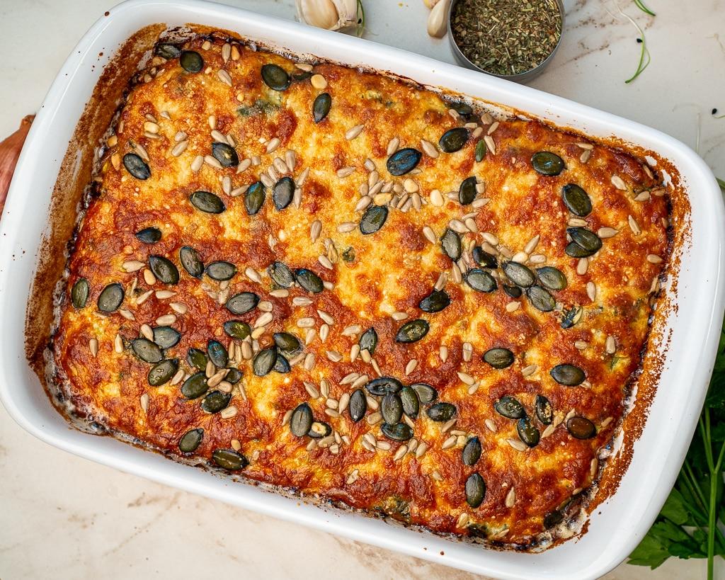 baked feta zucchini spinach casserole