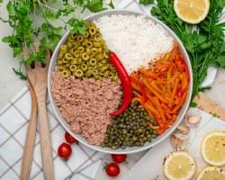 tuna rice salad with sauteed veggies