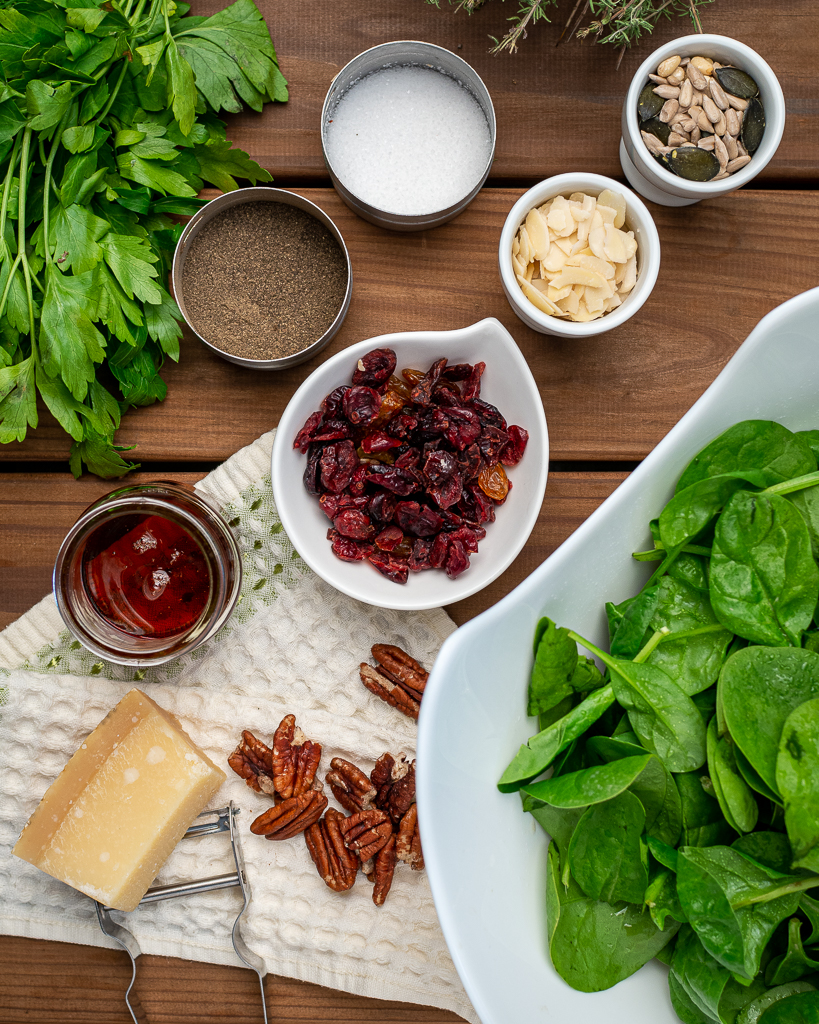 ingredients for spinach salad