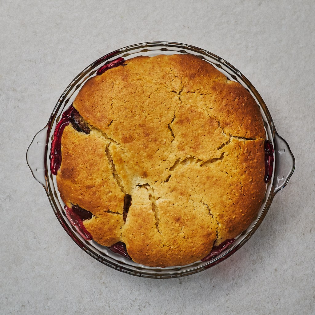 Delicious plum cobbler