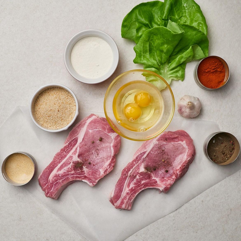 ingredients for breaded pork chops