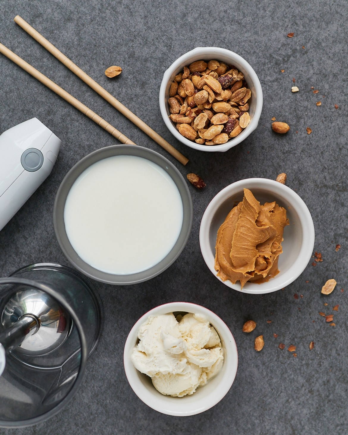 ingredients for peanut butter milkshake