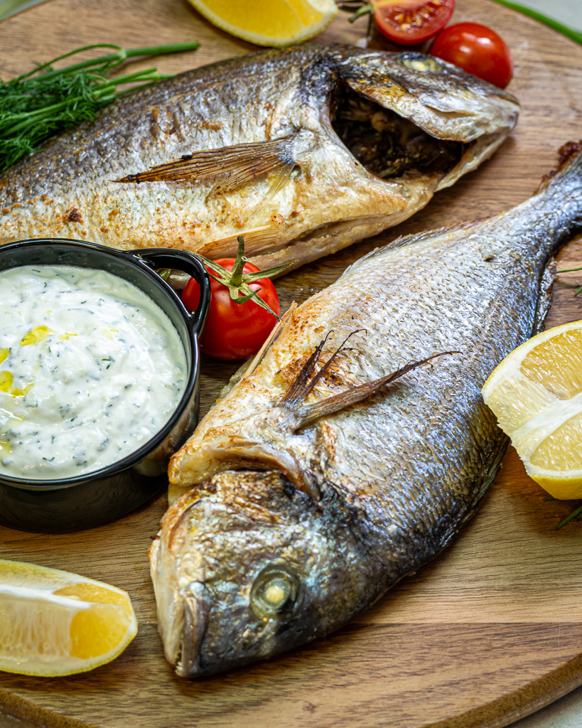 fish with tzatziki sauce