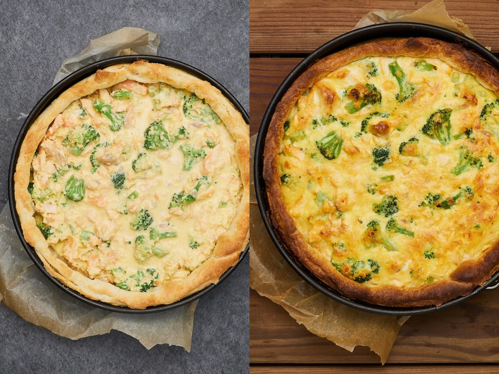Salmon Quiche is always a delight in my house. Fresh salmon, raw broccoli, cheese, and positive feelings will bring warmth and cosiness into your kitchen.