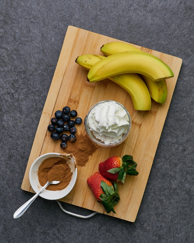Sweet and Healthy Banana Split Ingredients
