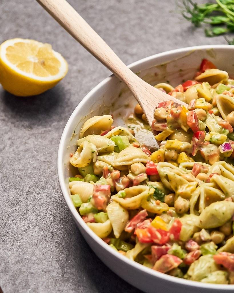 Vegan Chickpeas Avocado Pasta Salad