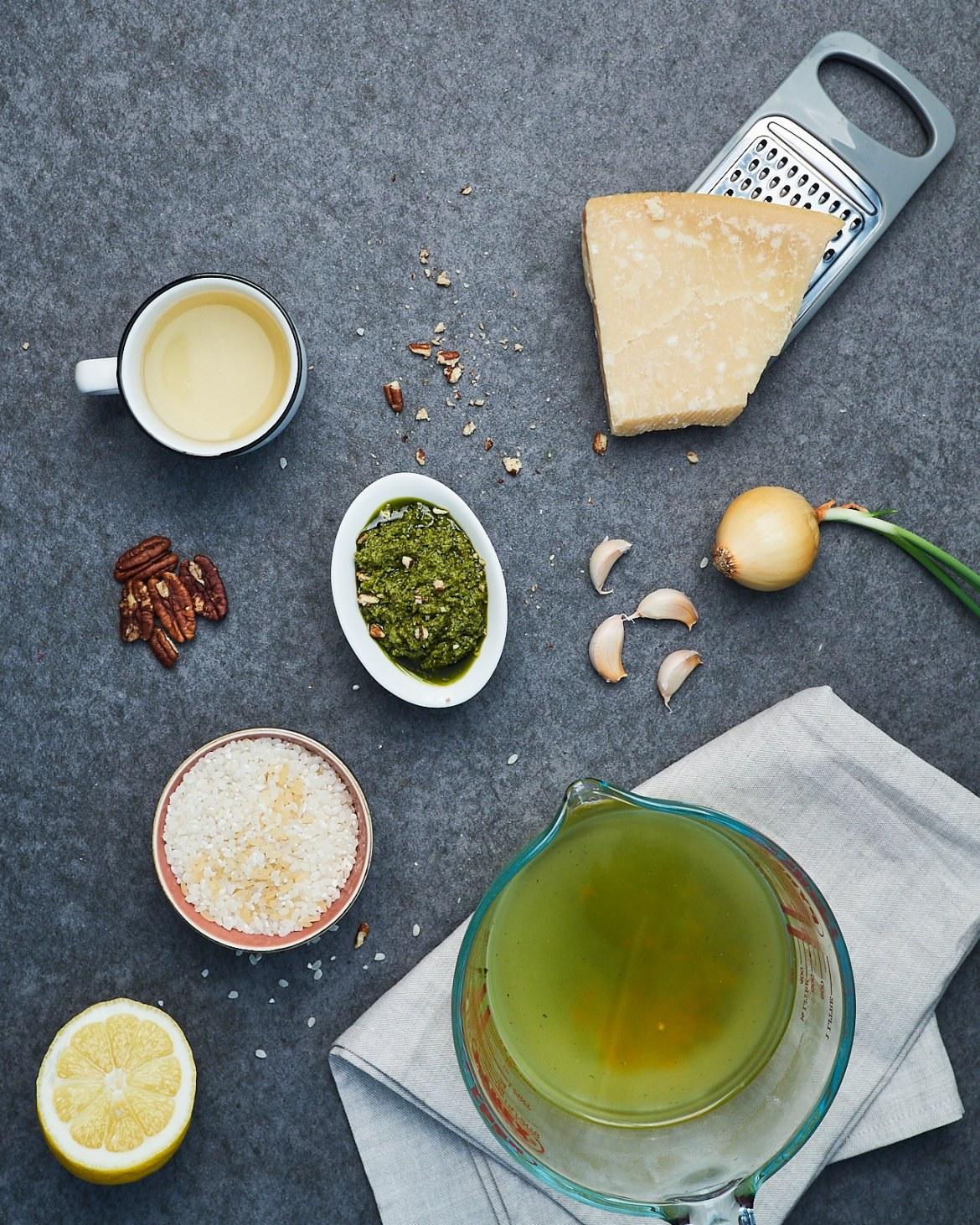 ingredients for vegan pesto risotto
