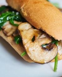 vegan mushroom spinach baguette