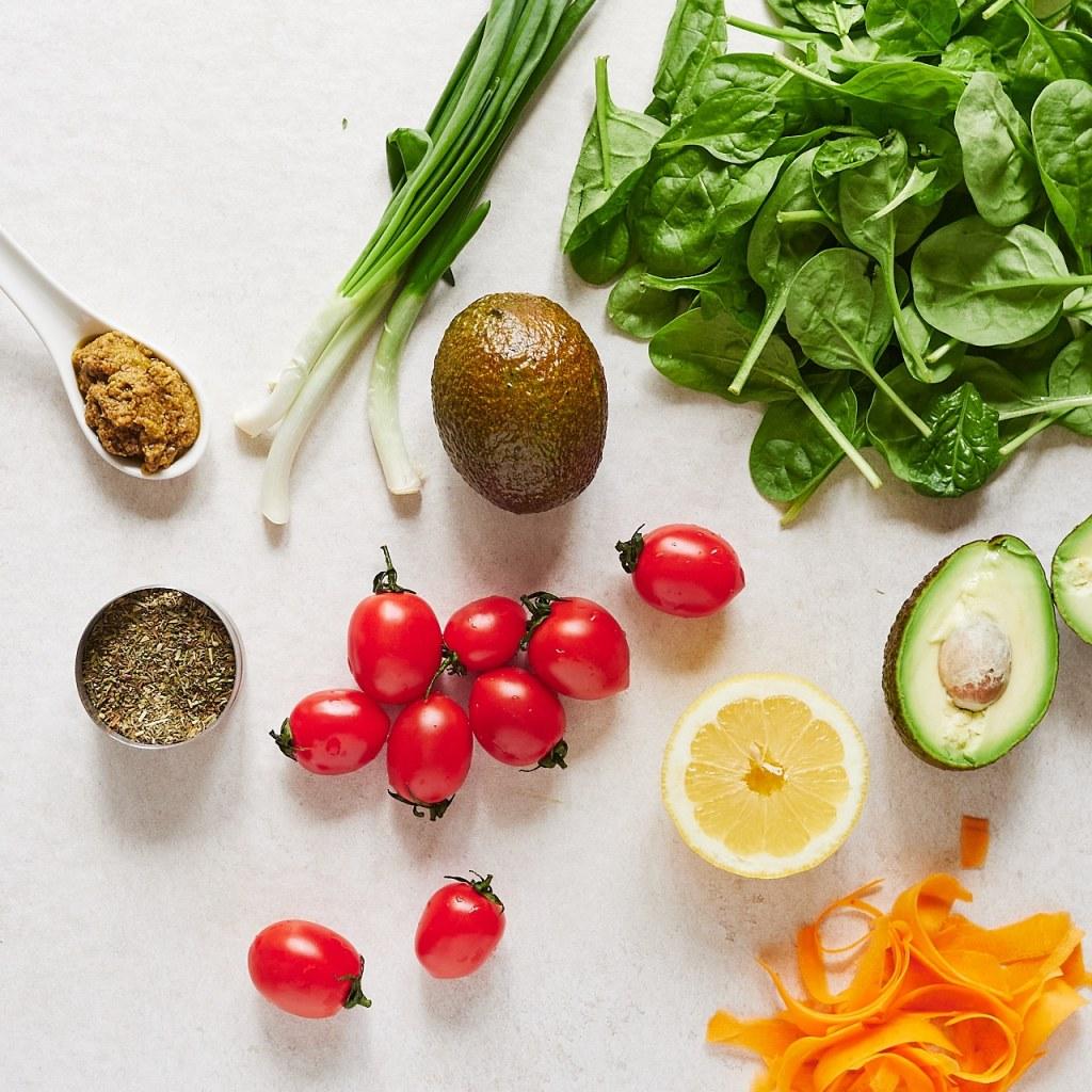 Healthy Spinach Avocado Salad Ingredients