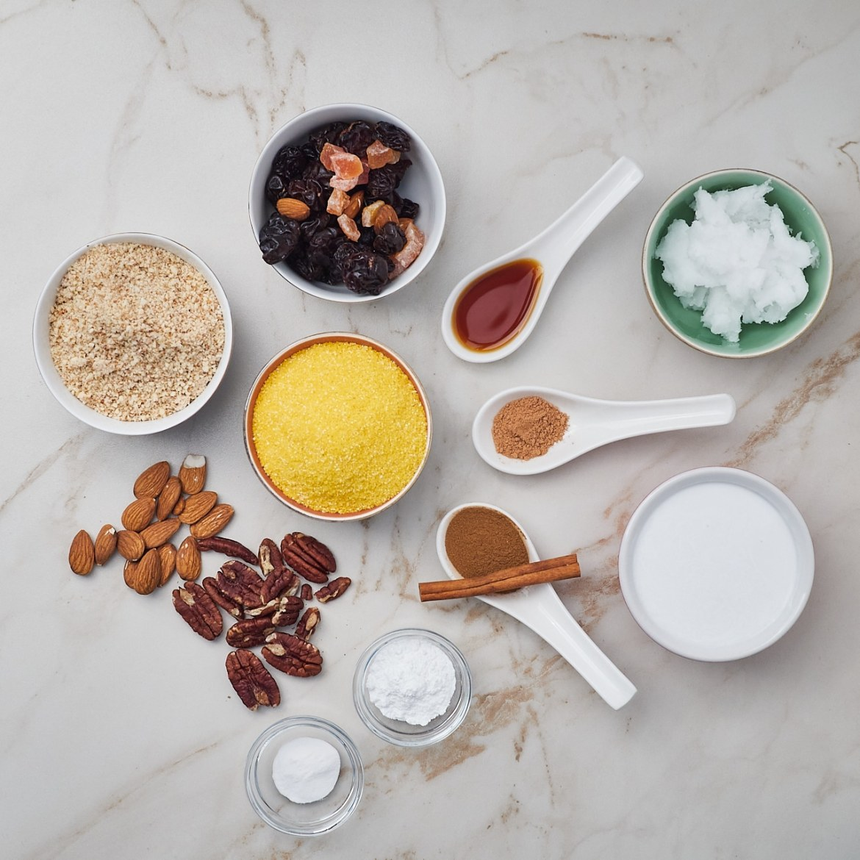 ingredients vegan nut & fruit bread recipe