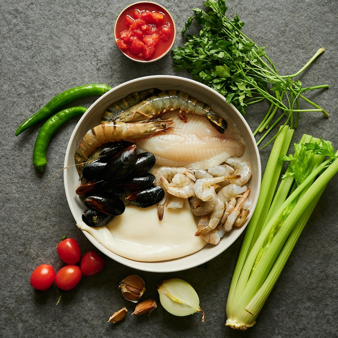 ingredients for seafood stew