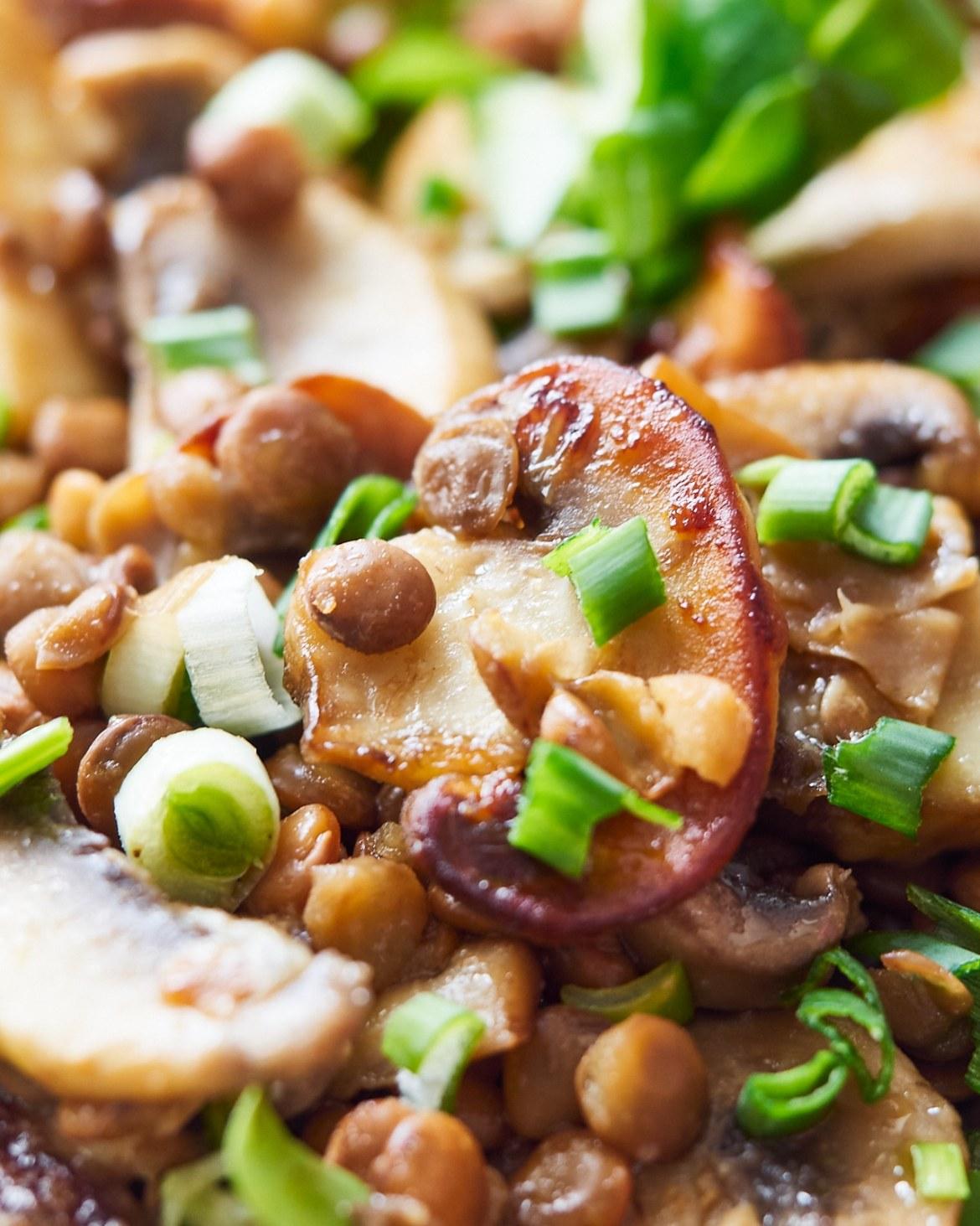mushroom lentil salad