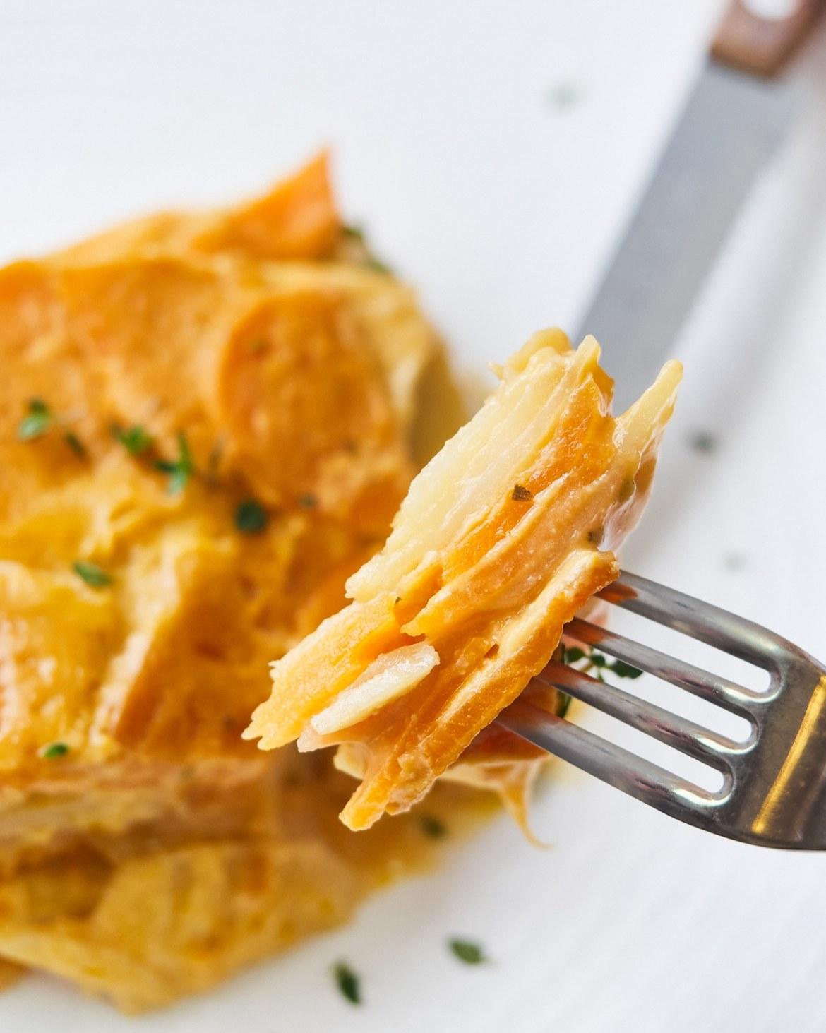 vegan scalloped sweet potatoes