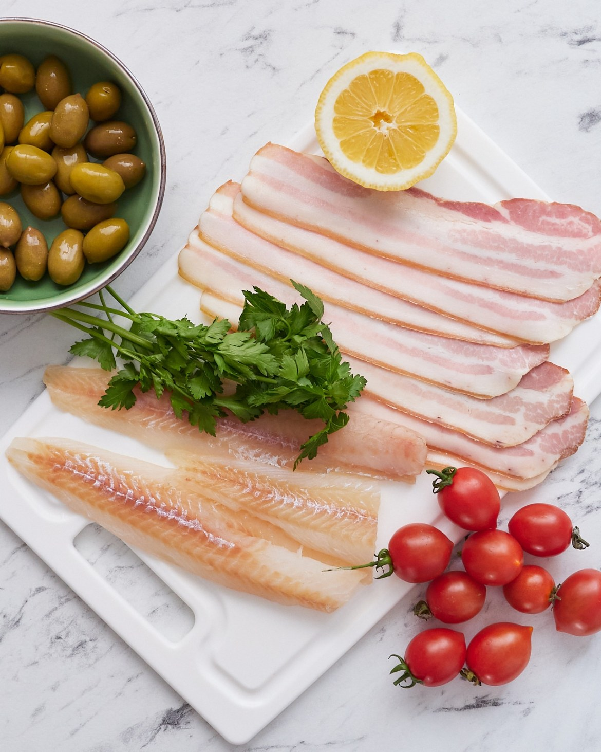 ingredients cod and bacon wraps