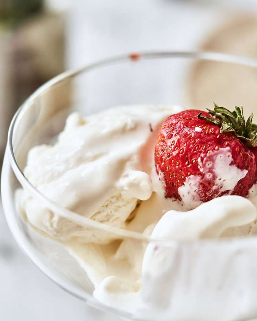 Homemade Ice cream with Strawberries