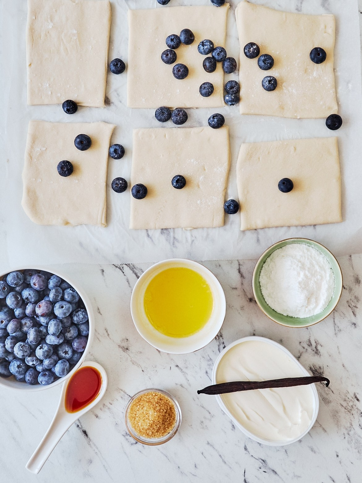 ingredients for cheesecake blueberry muffins