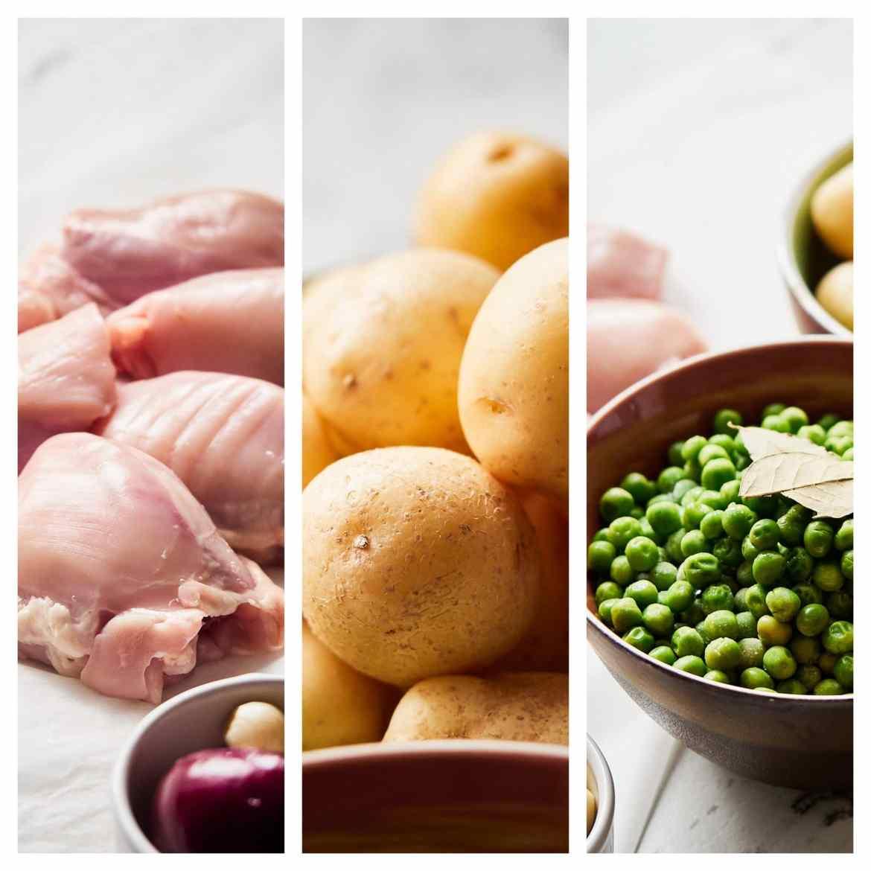chicken thigs potatoes peas