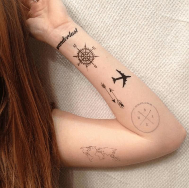 Tatuagens inspiradas em viagens: mapa, aviao, bussola e mais!