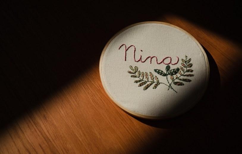 Bordado para a Nina, feito por vizinhos durante a quarentena do coronavirus