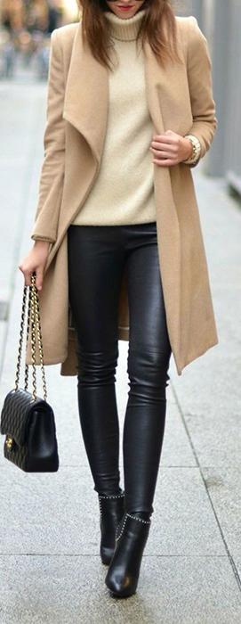 Calça de couro pode compor looks mais sobrios e elegantes para o inverno