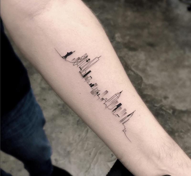 Tatuagens inspiradas em viagem: o skyline de Nova York, por Trudy Lines