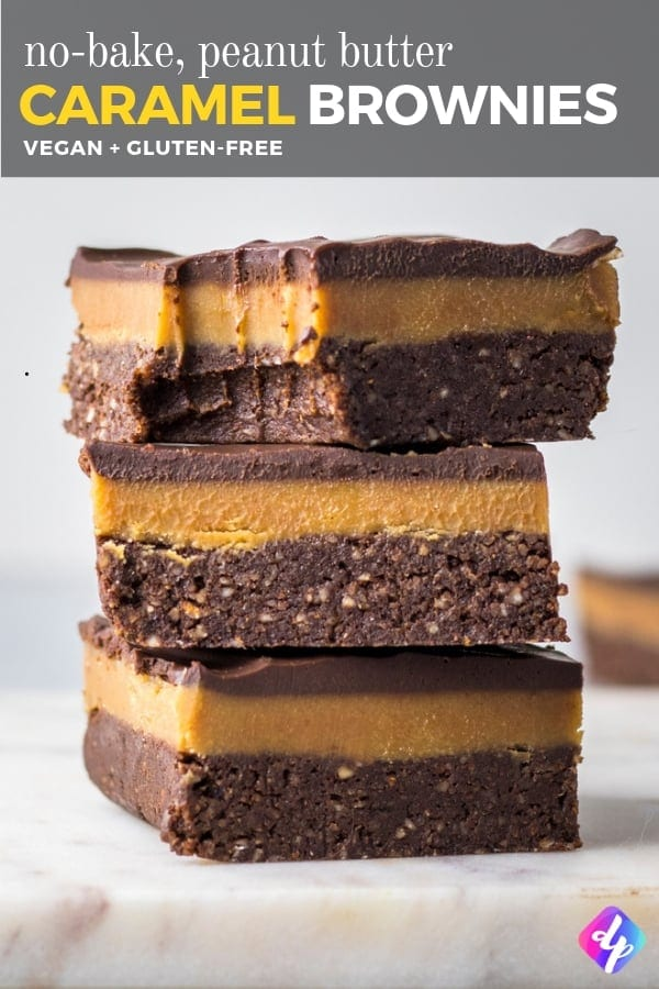 Vegan Brownies with Peanut Butter Caramel Brownies - Our vegan brownies are gluten-free, refined sugar free and take only 15 minutes to make! They're perfect for those days when you're just hankering after something rich and chocolatey to indulge in.