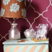 DIY Gold Herringbone Side Table Makeover