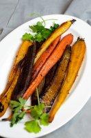 Honey Glazed Roasted Carrots on white platter