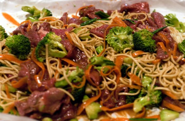 Marinated sirloin beef cut into thin strips. Mix all the ingredients together with the extra sauce.