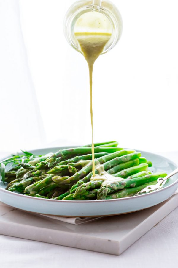 These asparagus are fresh and crisp with a beautiful tarragon dressing.